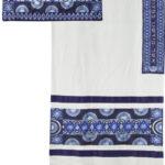 טלית רקמה מלאה כחול - Tallit embroidery