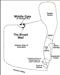 "Map of Jerusalem during the first Temple period showing the smaller City of David, presently being excavated along with the ""Western Side of Jerusalem"". The ""western"" is presently part of what we usually call East Jerusalem and the Old City"